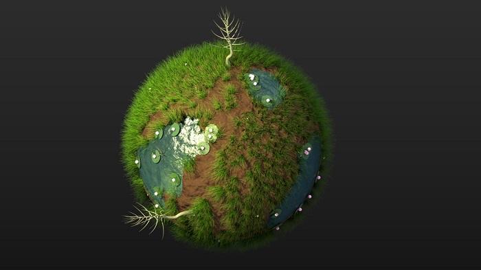 草地池塘迷你球体