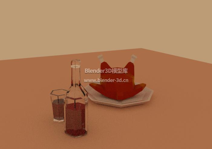 低面模型烤鸡和酒