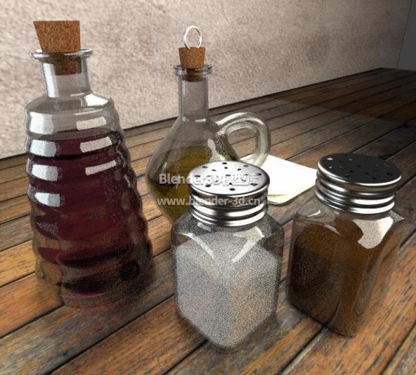 几瓶调味料油醋盐