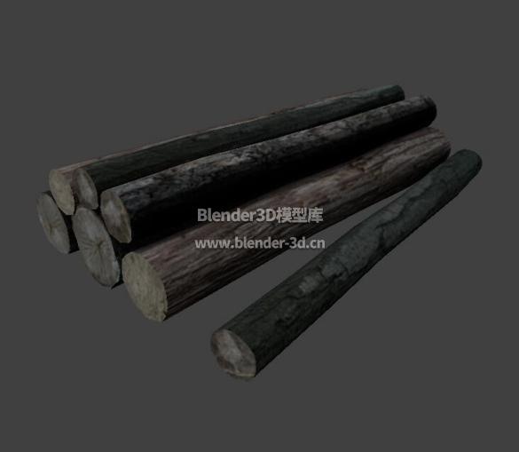 圆木树干堆