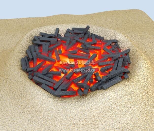 燃烧的炭火堆