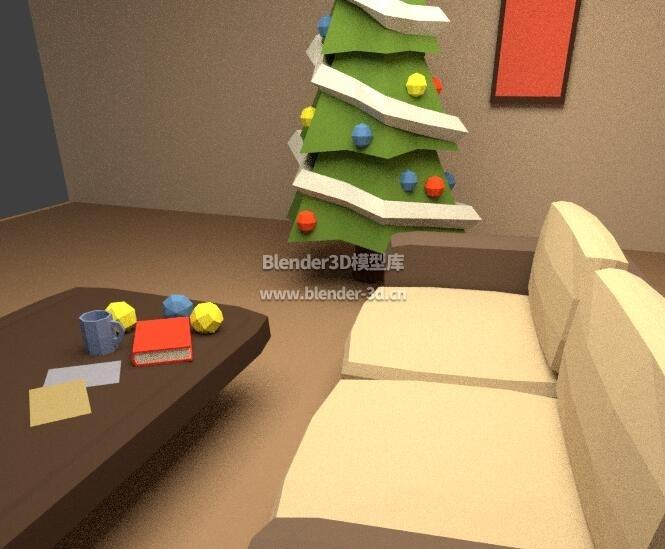 lowpoly几何多边形圣诞树桌子沙发