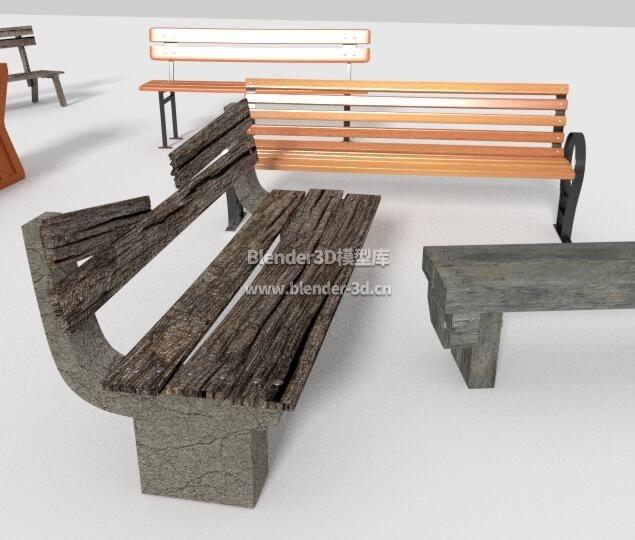 几种公园长条椅子
