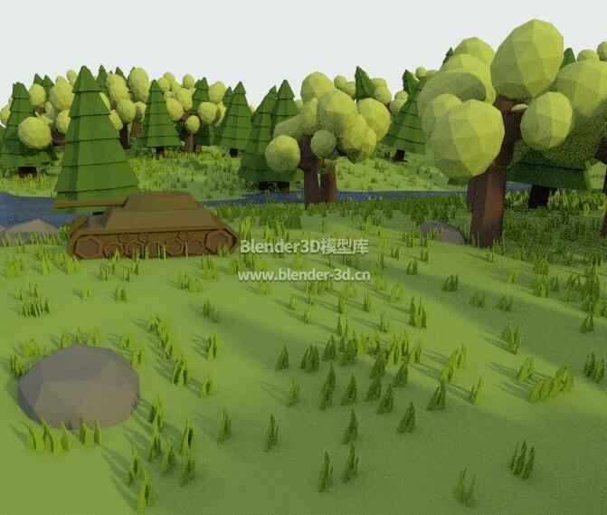 几何多边形卡通丛林坦克
