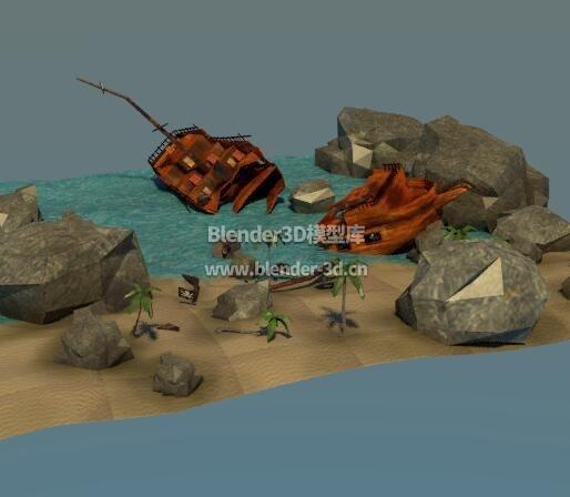 废弃海滩的搁浅海盗船