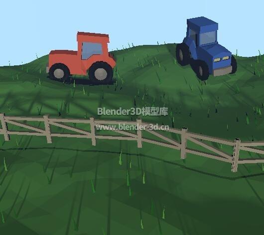 lowpoly几何多边形农田拖拉机