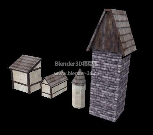 中世纪坡顶小房屋附属