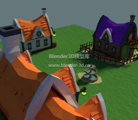 中世纪卡通小房屋