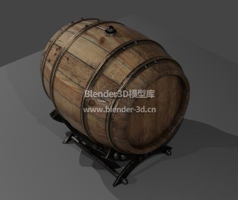 横卧木制酒桶