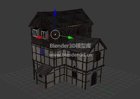 T字形中世纪3层飘窗房屋
