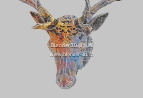 彩色壁挂鹿头装饰