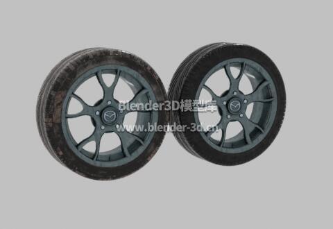 干净脏污马自达汽车轮胎