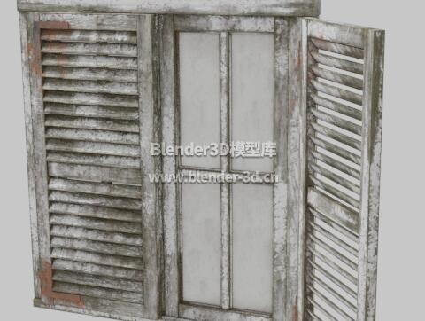 老旧木制百叶窗