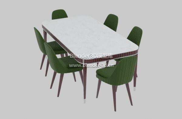 蓝褐色餐桌子椅子