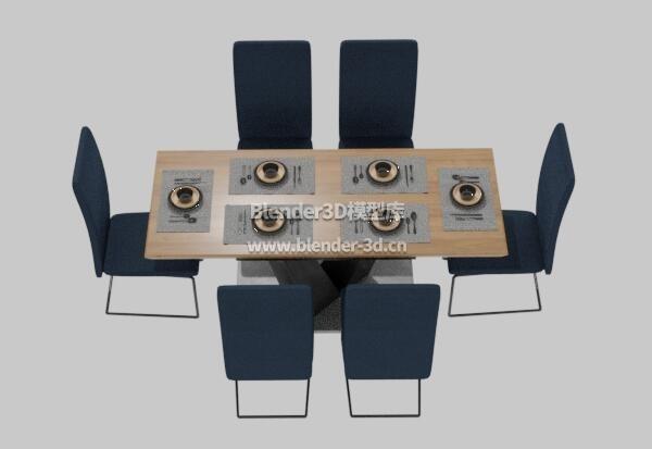 蓝色餐桌椅子