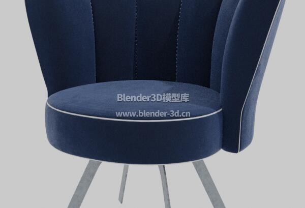 深蓝色单人圆形沙发椅子