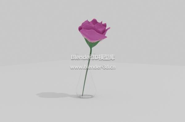 玻璃瓶玫瑰插花